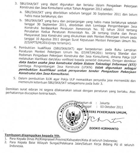 Surat Edaran PU Nomor 9/2011 vs Maklumat LPJK Nomor 18/2011