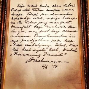Salah satu surat Soekarno