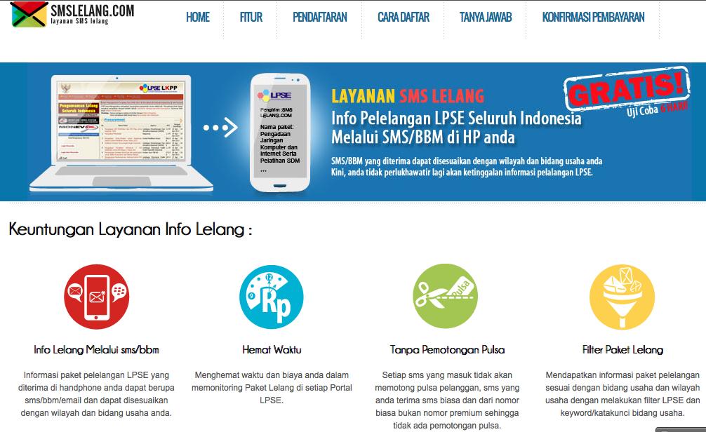 Tampilan Web SMS Lelang