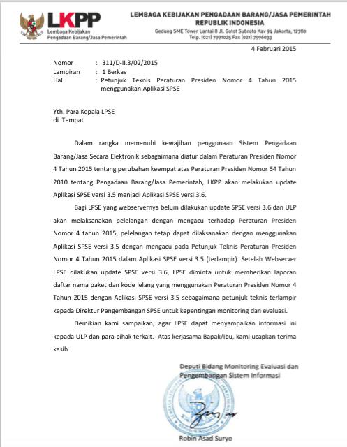 Surat Juknis Perpres 4/2015