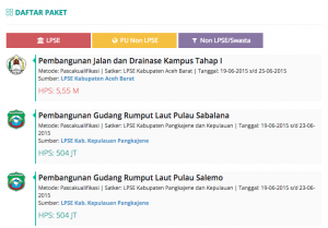 Info Pengadaan pada Halaman Depan Portal